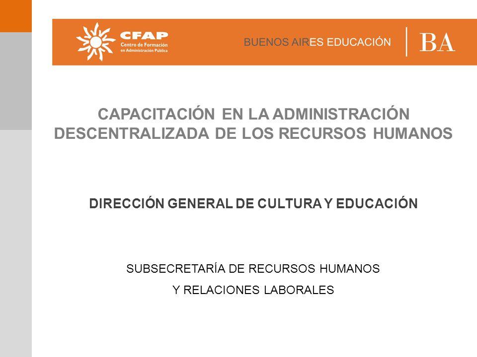 CAPACITACIÓN EN LA ADMINISTRACIÓN DESCENTRALIZADA DE LOS RECURSOS HUMANOS DIRECCIÓN GENERAL DE CULTURA Y EDUCACIÓN SUBSECRETARÍA DE RECURSOS HUMANOS Y