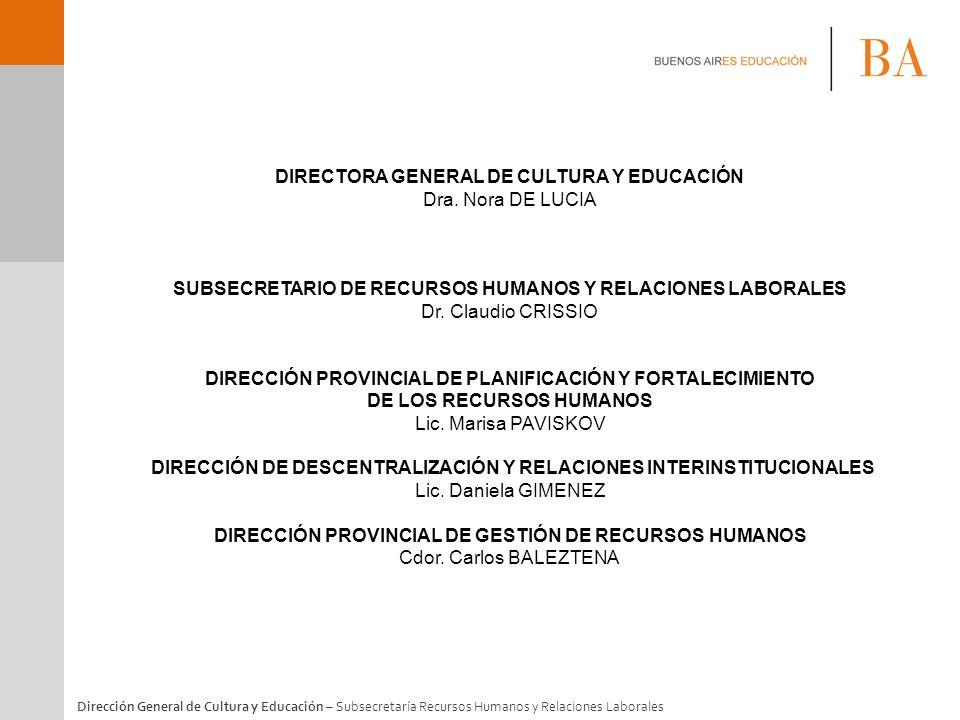 Dirección General de Cultura y Educación – Subsecretaría Recursos Humanos y Relaciones Laborales DIRECTORA GENERAL DE CULTURA Y EDUCACIÓN Dra. Nora DE