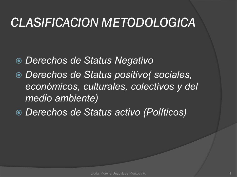 CLASIFICACION METODOLOGICA Derechos de Status Negativo Derechos de Status positivo( sociales, económicos, culturales, colectivos y del medio ambiente)