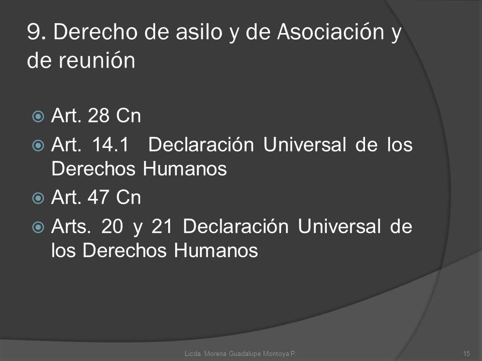 9. Derecho de asilo y de Asociación y de reunión Art. 28 Cn Art. 14.1 Declaración Universal de los Derechos Humanos Art. 47 Cn Arts. 20 y 21 Declaraci