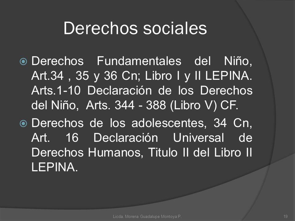 Derechos sociales Derechos Fundamentales del Niño, Art.34, 35 y 36 Cn; Libro I y II LEPINA. Arts.1-10 Declaración de los Derechos del Niño, Arts. 344