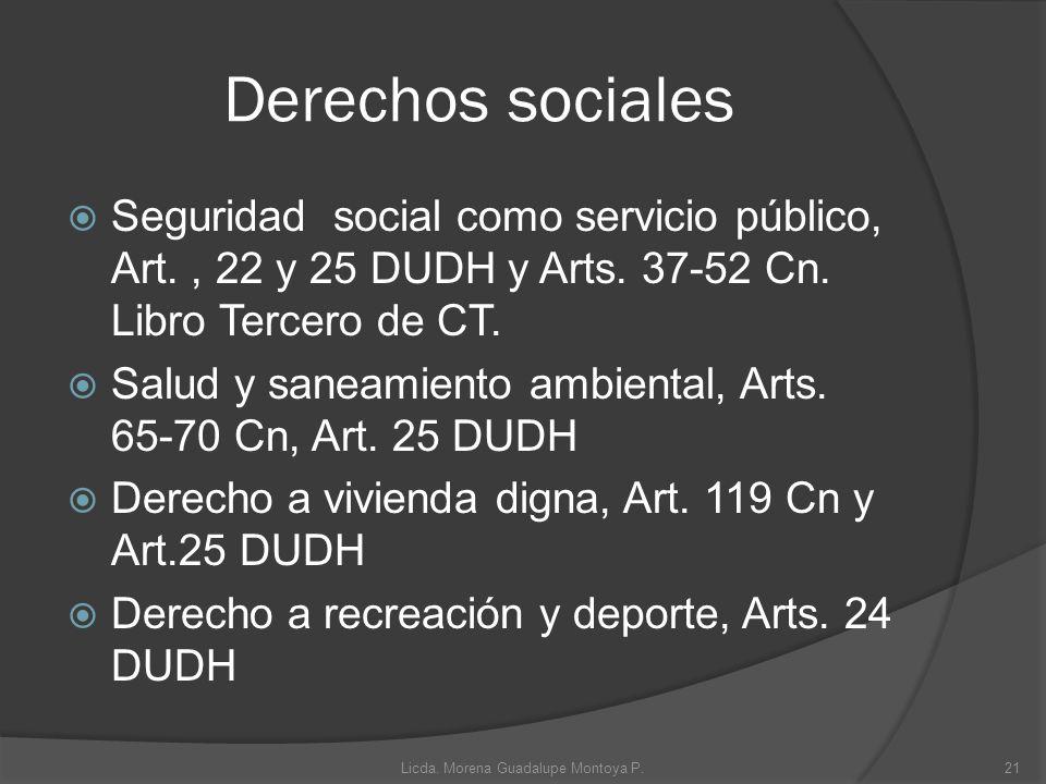 Derechos sociales Seguridad social como servicio público, Art., 22 y 25 DUDH y Arts. 37-52 Cn. Libro Tercero de CT. Salud y saneamiento ambiental, Art