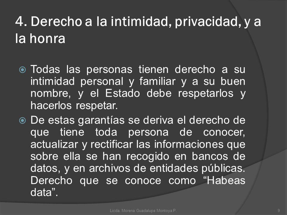 4. Derecho a la intimidad, privacidad, y a la honra Todas las personas tienen derecho a su intimidad personal y familiar y a su buen nombre, y el Esta
