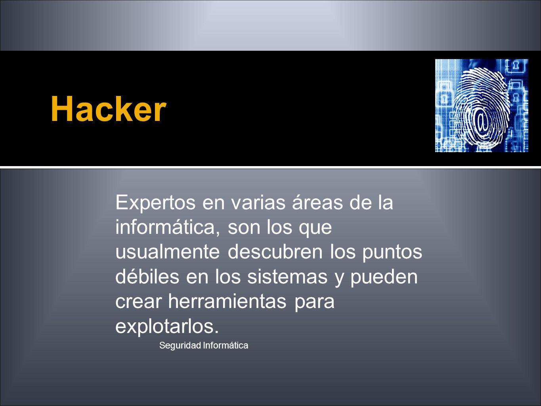 Hacker Seguridad Informática Expertos en varias áreas de la informática, son los que usualmente descubren los puntos débiles en los sistemas y pueden