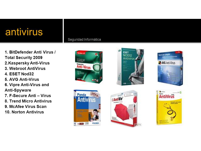 antivirus 1. BitDefender Anti Virus / Total Security 2009 2.Kaspersky Anti-Virus 3. Webroot AntiVirus 4. ESET Nod32 5. AVG Anti-Virus 6. Vipre Anti-Vi