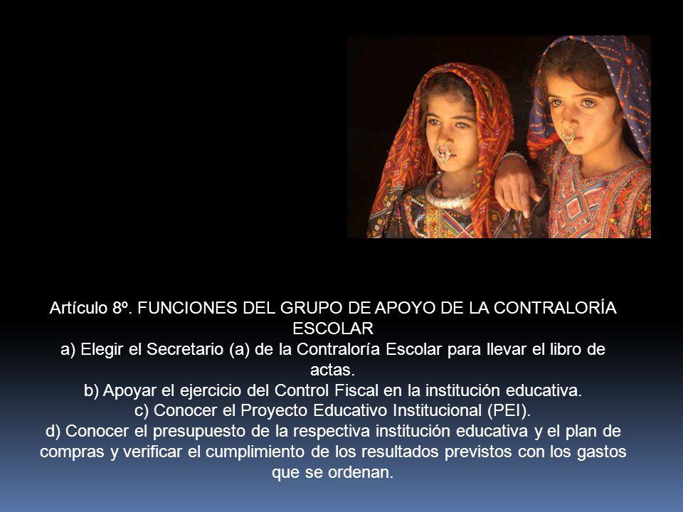 Artículo 7º.GRUPO DE APOYO DE LA CONTRALORIA ESCOLAR.
