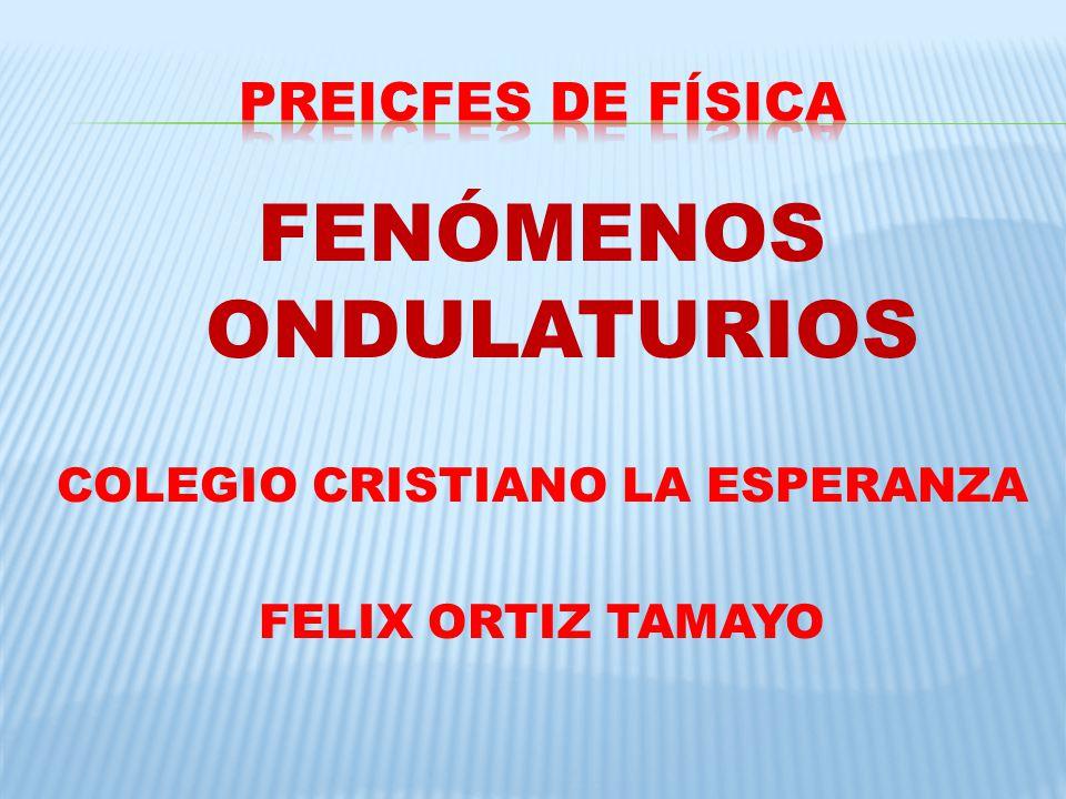 FENÓMENOS ONDULATURIOS COLEGIO CRISTIANO LA ESPERANZA FELIX ORTIZ TAMAYO