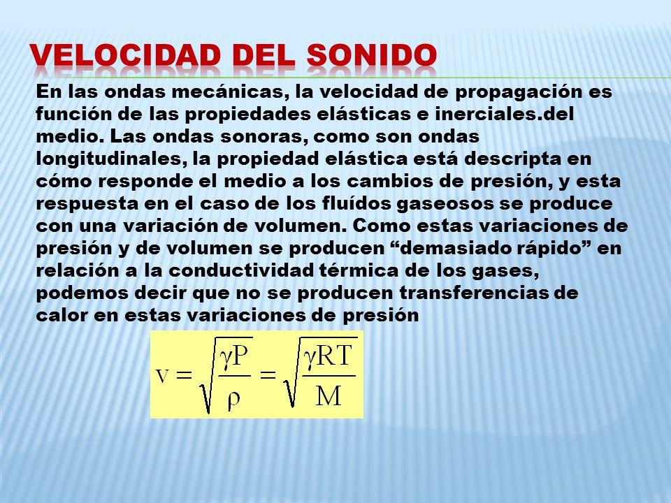En las ondas mecánicas, la velocidad de propagación es función de las propiedades elásticas e inerciales.del medio. Las ondas sonoras, como son ondas