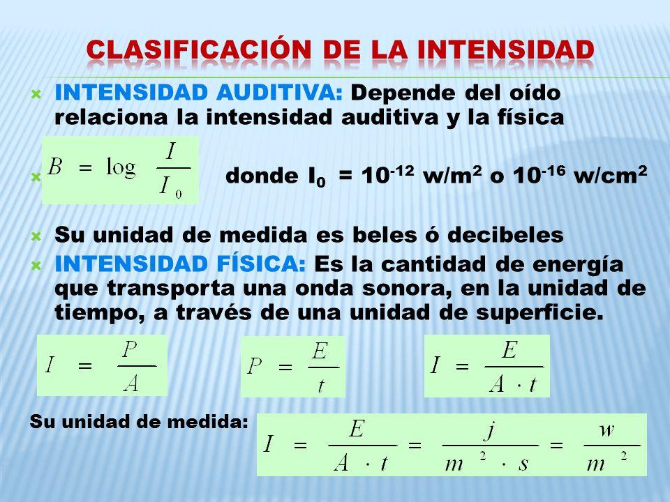 INTENSIDAD AUDITIVA: Depende del oído relaciona la intensidad auditiva y la física donde I 0 = 10 -12 w/m 2 o 10 -16 w/cm 2 Su unidad de medida es bel