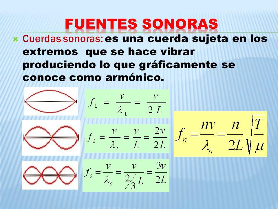 Cuerdas sonoras: es una cuerda sujeta en los extremos que se hace vibrar produciendo lo que gráficamente se conoce como armónico.