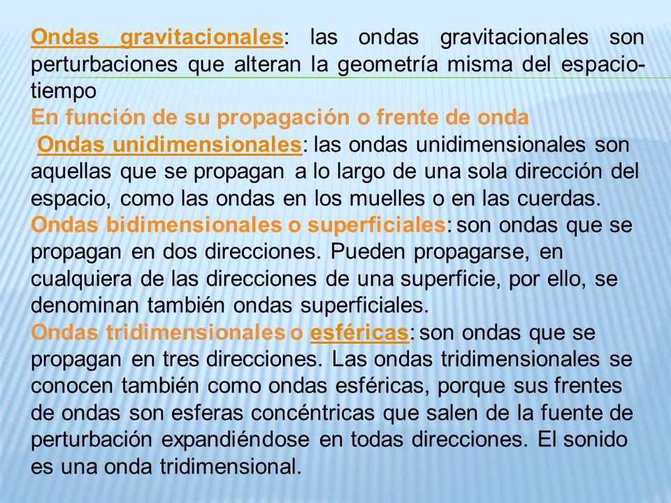 Ondas gravitacionalesOndas gravitacionales: las ondas gravitacionales son perturbaciones que alteran la geometría misma del espacio- tiempo En función
