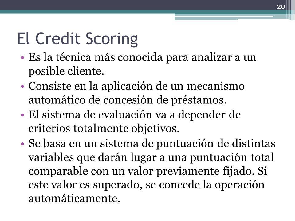 El Credit Scoring Es la técnica más conocida para analizar a un posible cliente. Consiste en la aplicación de un mecanismo automático de concesión de