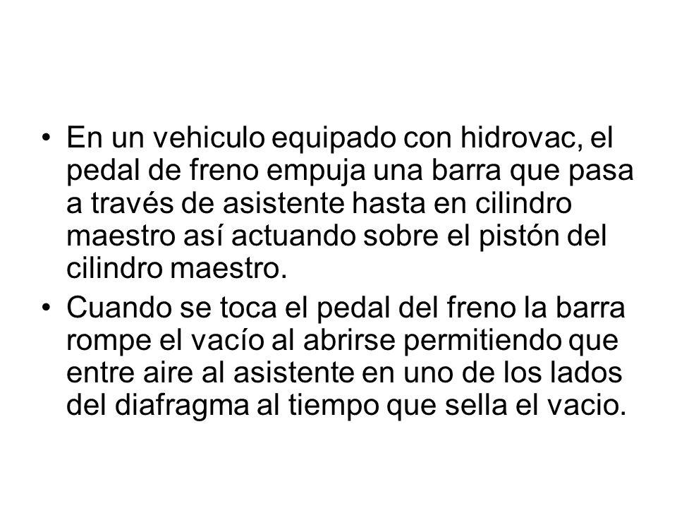 En un vehiculo equipado con hidrovac, el pedal de freno empuja una barra que pasa a través de asistente hasta en cilindro maestro así actuando sobre e