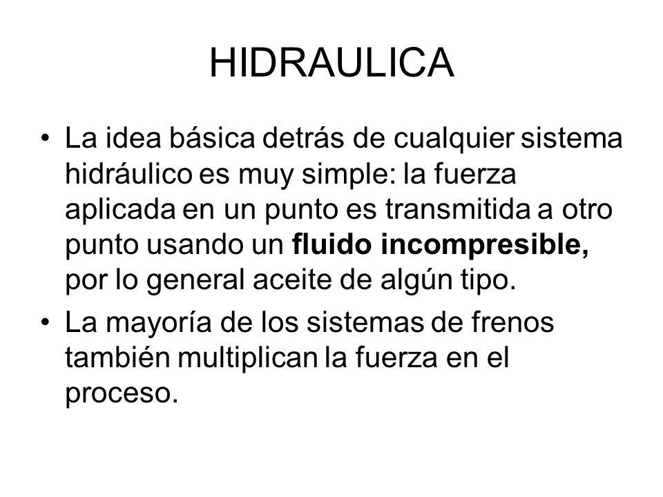 HIDRAULICA La idea básica detrás de cualquier sistema hidráulico es muy simple: la fuerza aplicada en un punto es transmitida a otro punto usando un f