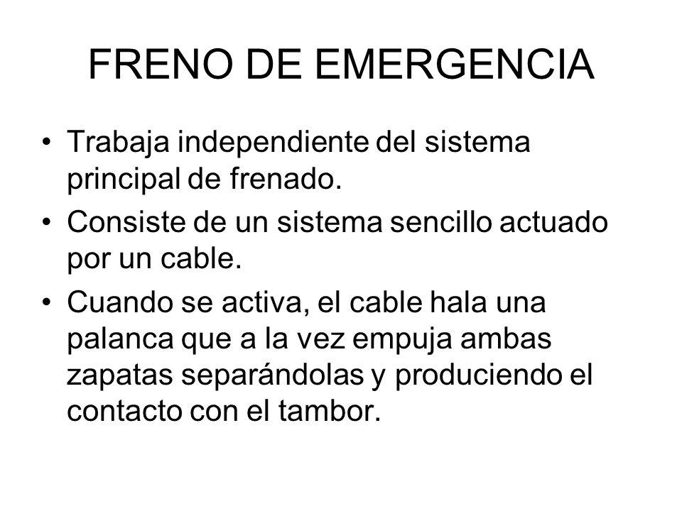 FRENO DE EMERGENCIA Trabaja independiente del sistema principal de frenado. Consiste de un sistema sencillo actuado por un cable. Cuando se activa, el