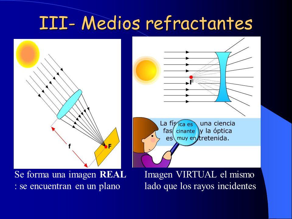 III- Medios refractantes Se forma una imagen REAL : se encuentran en un plano Imagen VIRTUAL el mismo lado que los rayos incidentes