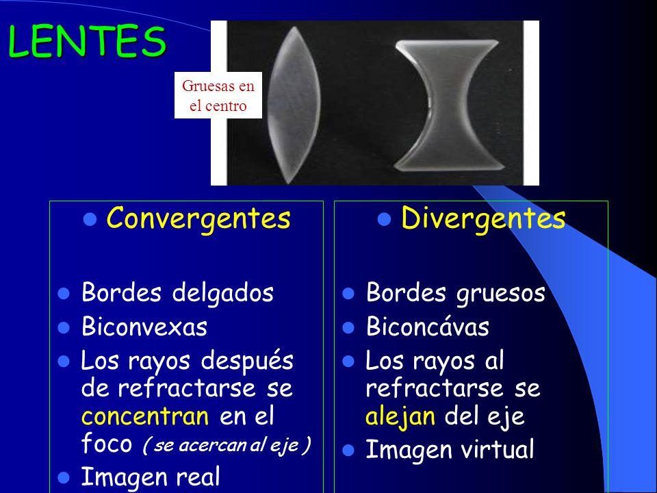 LENTES Convergentes Bordes delgados Biconvexas Los rayos después de refractarse se concentran en el foco ( se acercan al eje ) Imagen real Divergentes Bordes gruesos Biconcávas Los rayos al refractarse se alejan del eje Imagen virtual Gruesas en el centro