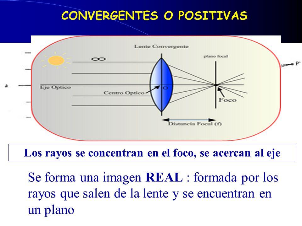 Se forma una imagen real CONVERGENTES O POSITIVAS Los rayos se concentran en el foco, se acercan al eje Se forma una imagen REAL : formada por los rayos que salen de la lente y se encuentran en un plano