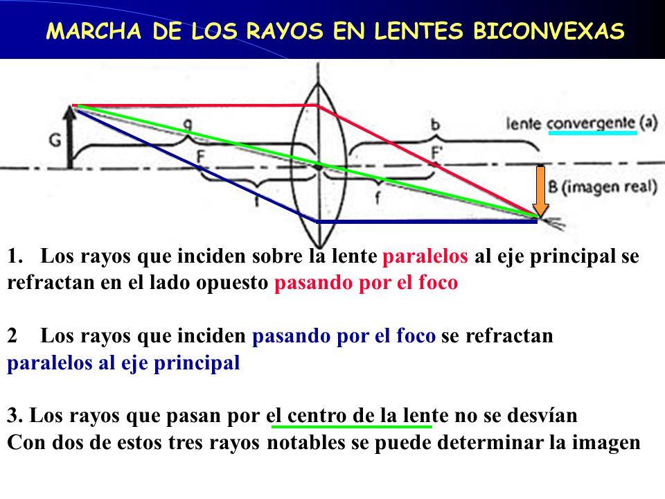1.Los rayos que inciden sobre la lente paralelos al eje principal se refractan en el lado opuesto pasando por el foco 2Los rayos que inciden pasando p