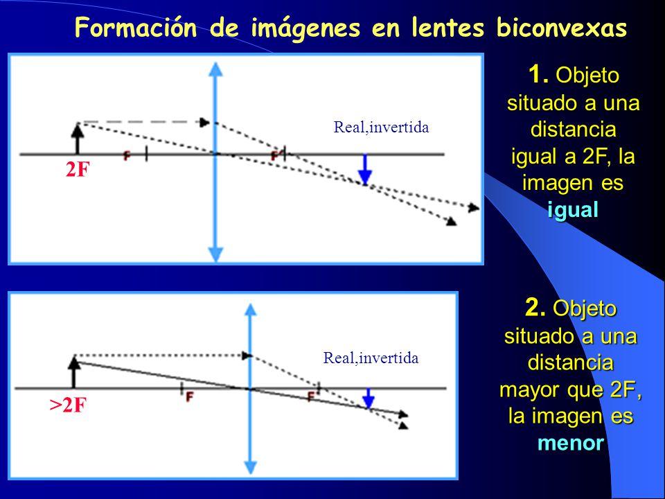 2. Objeto situado a una distancia mayor que 2F, la imagen es menor 1. Objeto situado a una distancia igual a 2F, la imagen es igual Formación de imáge