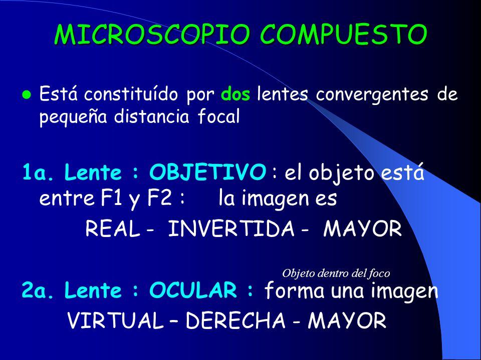 MICROSCOPIO COMPUESTO Está constituído por dos lentes convergentes de pequeña distancia focal 1a. Lente : OBJETIVO : el objeto está entre F1 y F2 : la