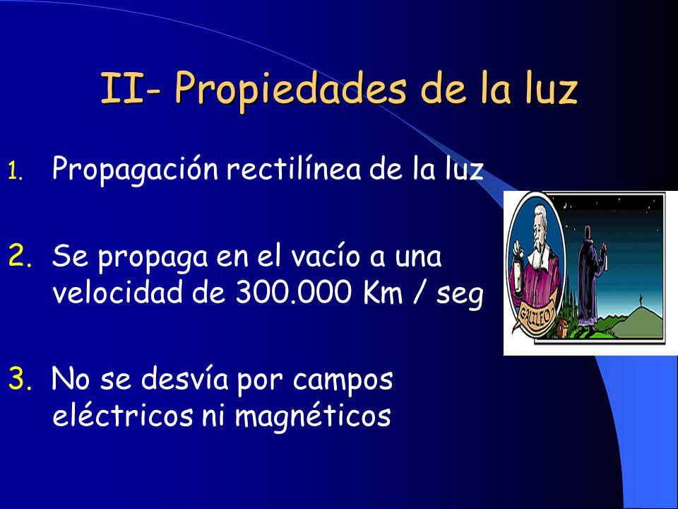 II- Propiedades de la luz 1. Propagación rectilínea de la luz 2. Se propaga en el vacío a una velocidad de 300.000 Km / seg 3. No se desvía por campos