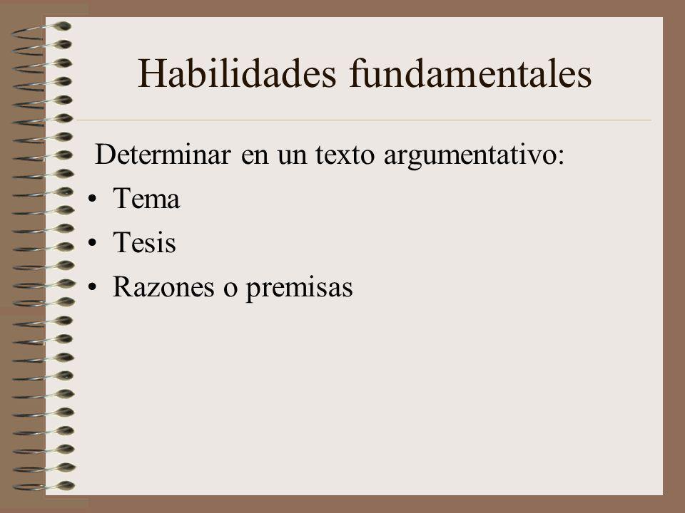 Habilidades fundamentales Determinar en un texto argumentativo: Tema Tesis Razones o premisas