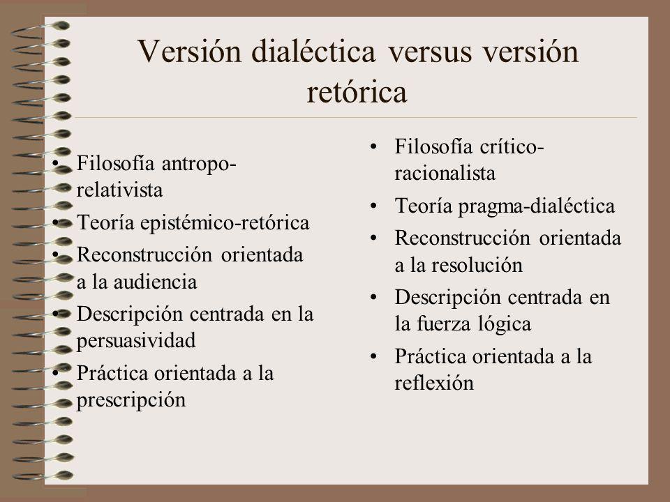 Versión dialéctica versus versión retórica Filosofía antropo- relativista Teoría epistémico-retórica Reconstrucción orientada a la audiencia Descripci