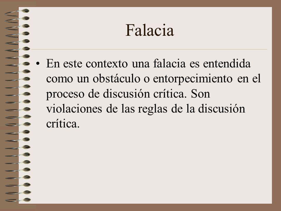 Falacia En este contexto una falacia es entendida como un obstáculo o entorpecimiento en el proceso de discusión crítica. Son violaciones de las regla