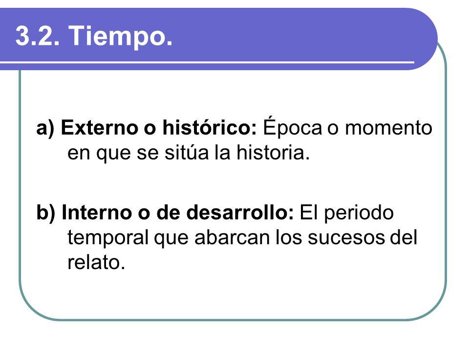 3.2. Tiempo. a) Externo o histórico: Época o momento en que se sitúa la historia. b) Interno o de desarrollo: El periodo temporal que abarcan los suce