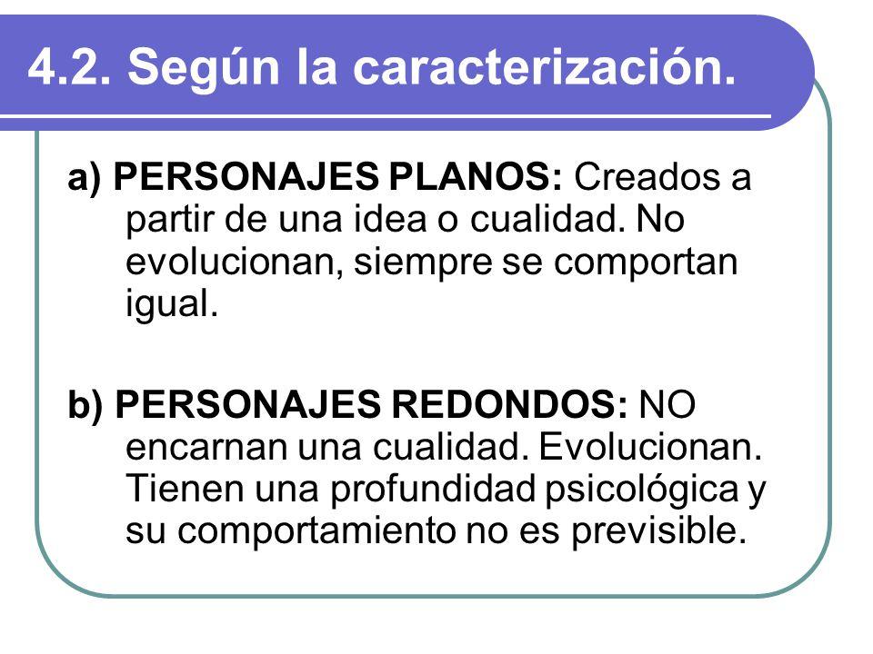 4.2. Según la caracterización. a) PERSONAJES PLANOS: Creados a partir de una idea o cualidad. No evolucionan, siempre se comportan igual. b) PERSONAJE