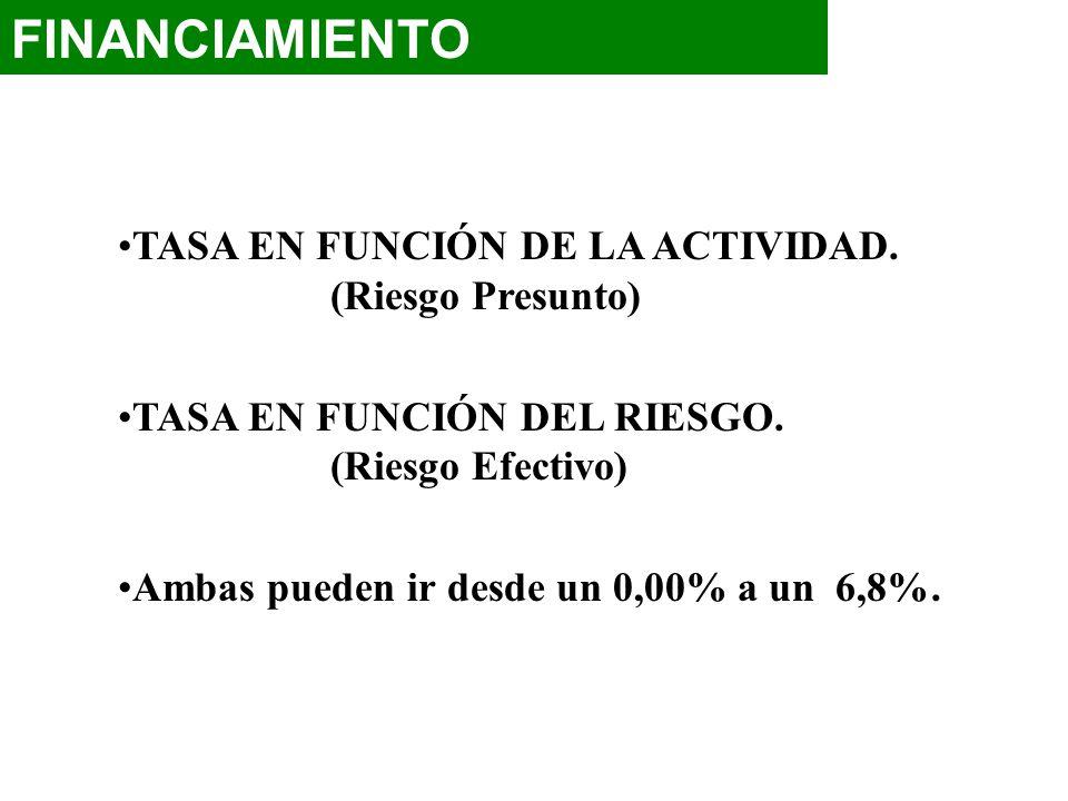 TASA EN FUNCIÓN DE LA ACTIVIDAD. (Riesgo Presunto) TASA EN FUNCIÓN DEL RIESGO. (Riesgo Efectivo) Ambas pueden ir desde un 0,00% a un 6,8%.