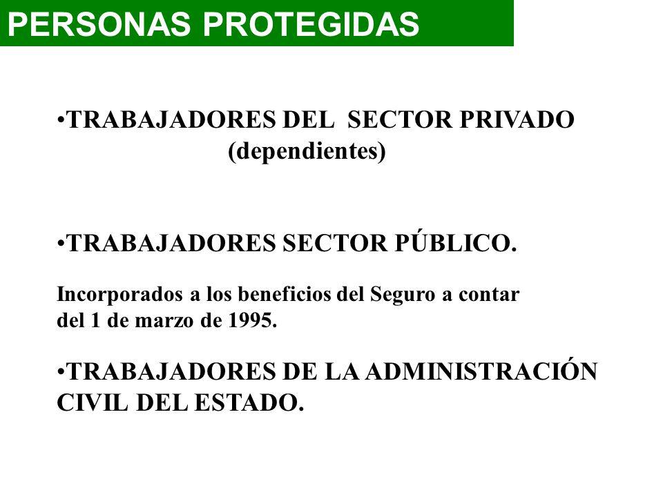PERSONAS PROTEGIDAS TRABAJADORES DEL SECTOR PRIVADO (dependientes) TRABAJADORES SECTOR PÚBLICO. Incorporados a los beneficios del Seguro a contar del