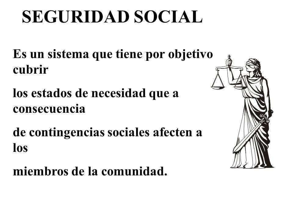 Es un sistema que tiene por objetivo cubrir los estados de necesidad que a consecuencia de contingencias sociales afecten a los miembros de la comunid