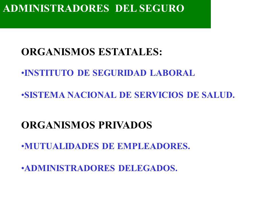 ADMINISTRADORES DEL SEGURO ORGANISMOS ESTATALES: INSTITUTO DE SEGURIDAD LABORAL SISTEMA NACIONAL DE SERVICIOS DE SALUD. ORGANISMOS PRIVADOS MUTUALIDAD