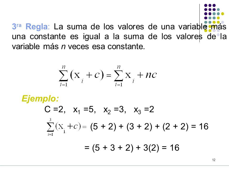 11 2 da Regla: La suma de los productos de una constante por una variable, es igual a la constante multiplicada por la suma de la variable.