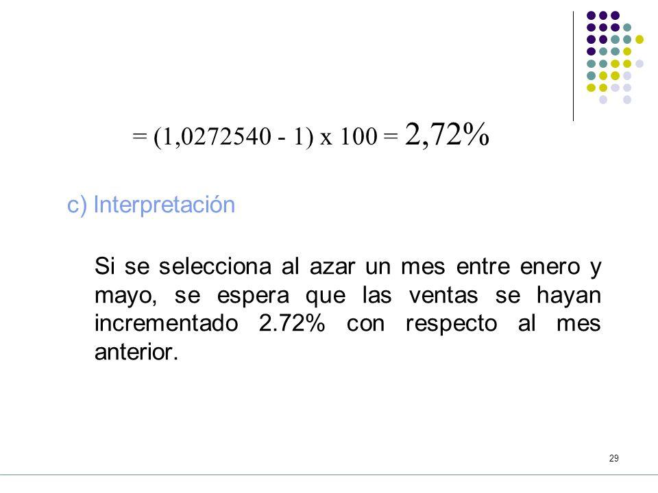 28 Por lo tanto, la media geométrica se calcula: Tasa media de variación = b) Cálculos