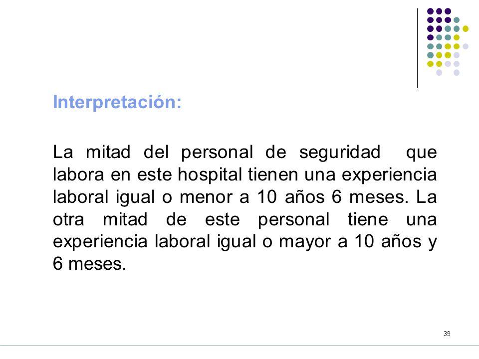 38 Ejemplo: La tabla siguiente muestra la experiencia laboral (años) del personal de seguridad que labora en un gran hospital.