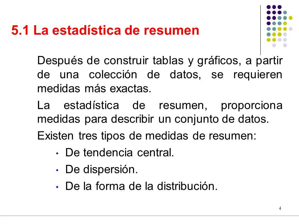 3 CONTENIDO 1.La estadística de resumen 2.Propiedades de la sumatoria 3.Principales medidas de tendencia central 3.1 Medias 3.2 Mediana 3.3 Moda 3.4 Cuartiles 3.5 Percentiles