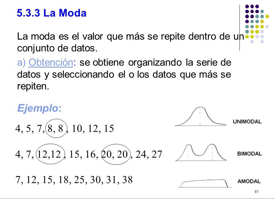 40 e) Ventajas y desventajas Ventajas: Los valores extremos no afectan a la mediana como en el caso de la media aritmética.