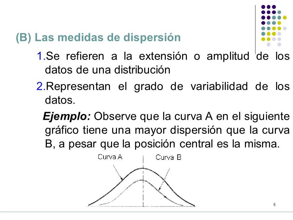 5 (A) Las medidas de tendencia central Se refieren al punto medio de una distribución Se conocen como medidas de posición Ejemplo: A partir del gráfico siguiente, se observa que la posición central de la curva B está a la derecha de la posición central de las curvas A y C.