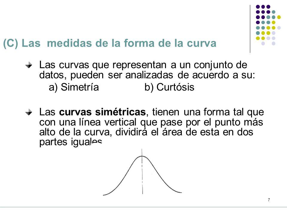 6 (B) Las medidas de dispersión 1.Se refieren a la extensión o amplitud de los datos de una distribución 2.Representan el grado de variabilidad de los datos.