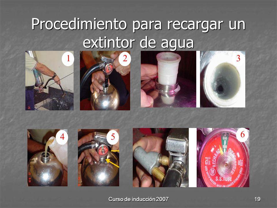 Curso de inducción 200719 Procedimiento para recargar un extintor de agua 123 45 6