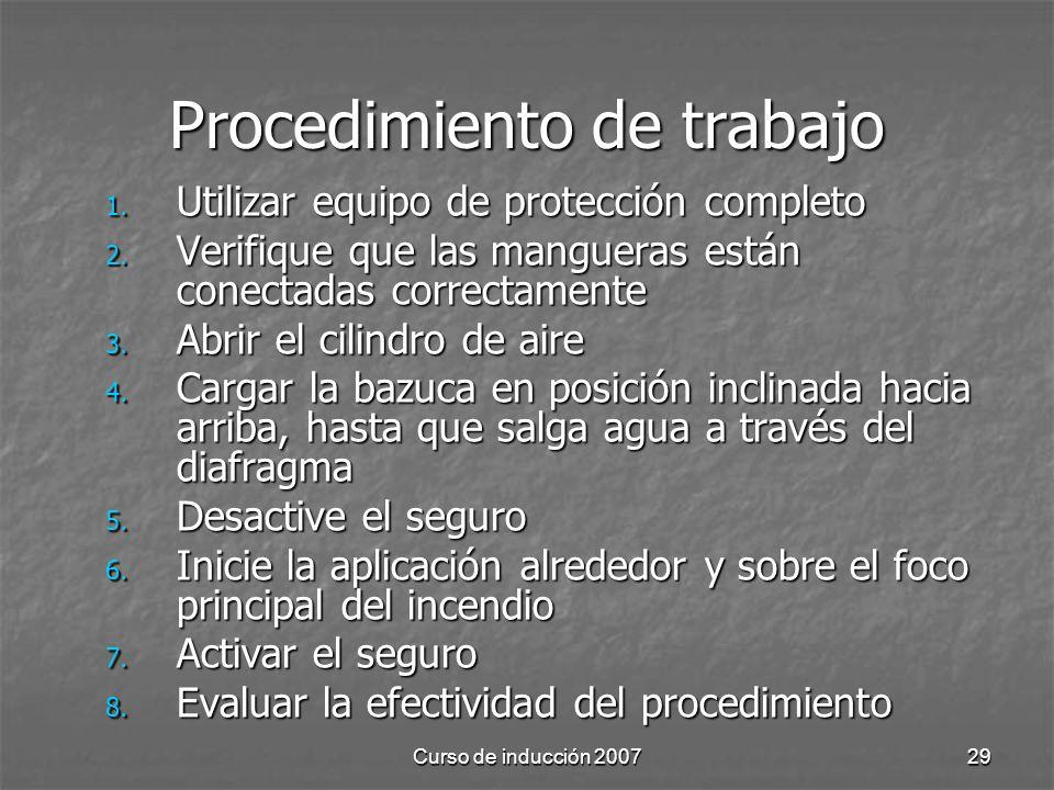 Curso de inducción 200729 Procedimiento de trabajo 1. Utilizar equipo de protección completo 2. Verifique que las mangueras están conectadas correctam