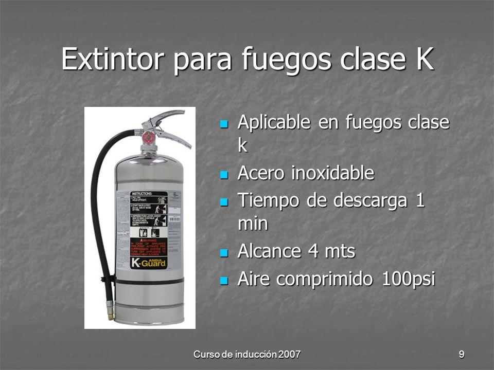 Curso de inducción 20079 Extintor para fuegos clase K Aplicable en fuegos clase k Aplicable en fuegos clase k Acero inoxidable Acero inoxidable Tiempo