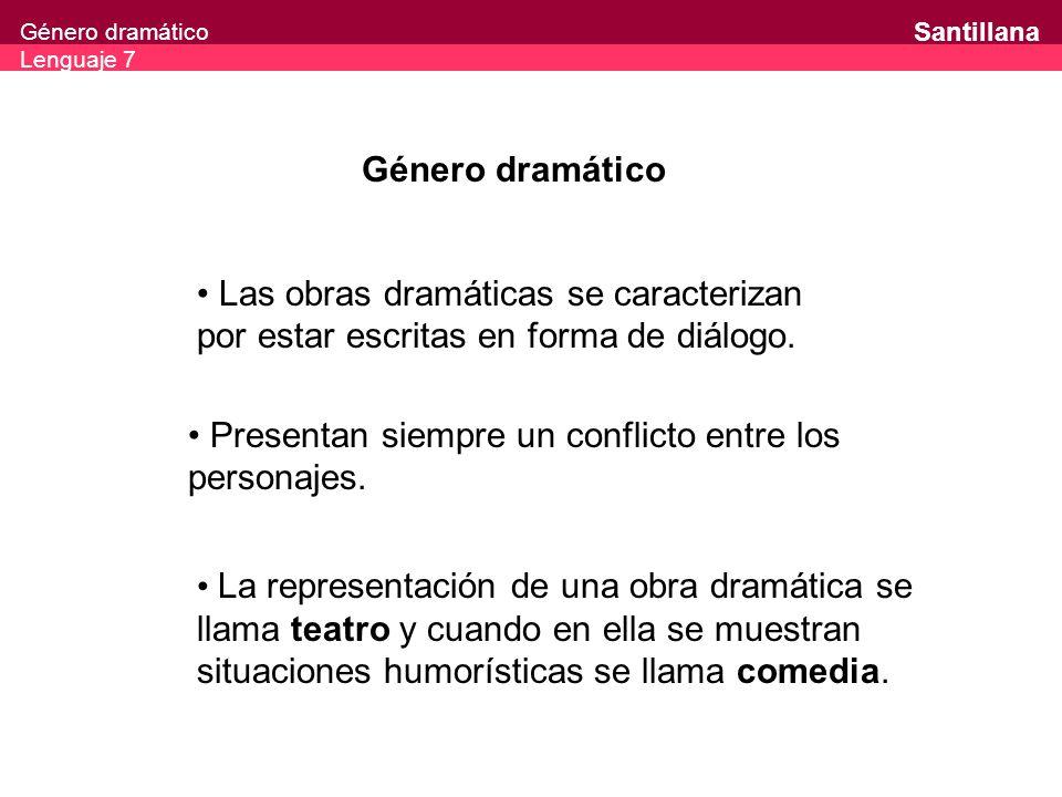Género dramático Lenguaje 7 Santillana Género dramático Las obras dramáticas se caracterizan por estar escritas en forma de diálogo. Presentan siempre