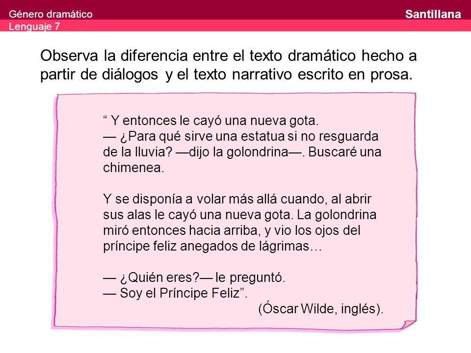 Género dramático Lenguaje 7 Santillana Observa la diferencia entre el texto dramático hecho a partir de diálogos y el texto narrativo escrito en prosa