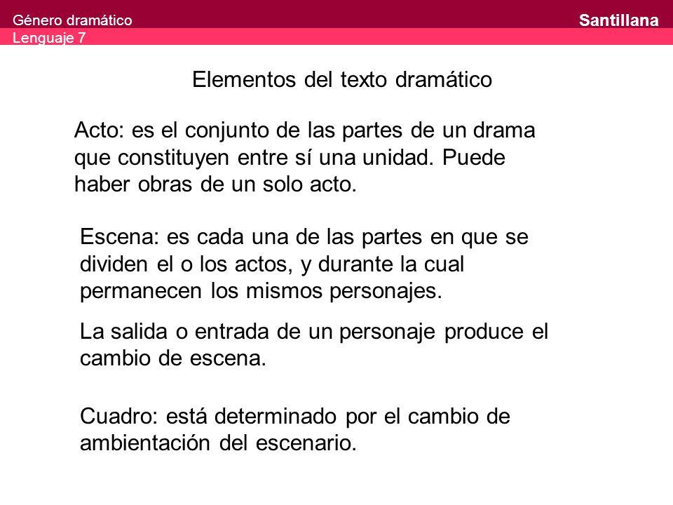 Género dramático Lenguaje 7 Santillana Elementos del texto dramático Acto: es el conjunto de las partes de un drama que constituyen entre sí una unida