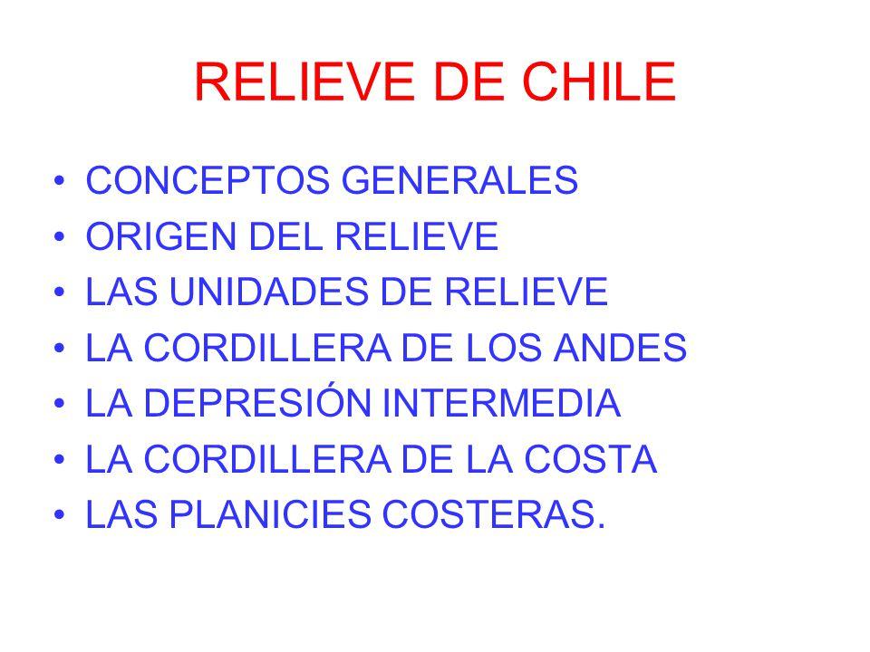 RELIEVE DE CHILE CONCEPTOS GENERALES ORIGEN DEL RELIEVE LAS UNIDADES DE RELIEVE LA CORDILLERA DE LOS ANDES LA DEPRESIÓN INTERMEDIA LA CORDILLERA DE LA