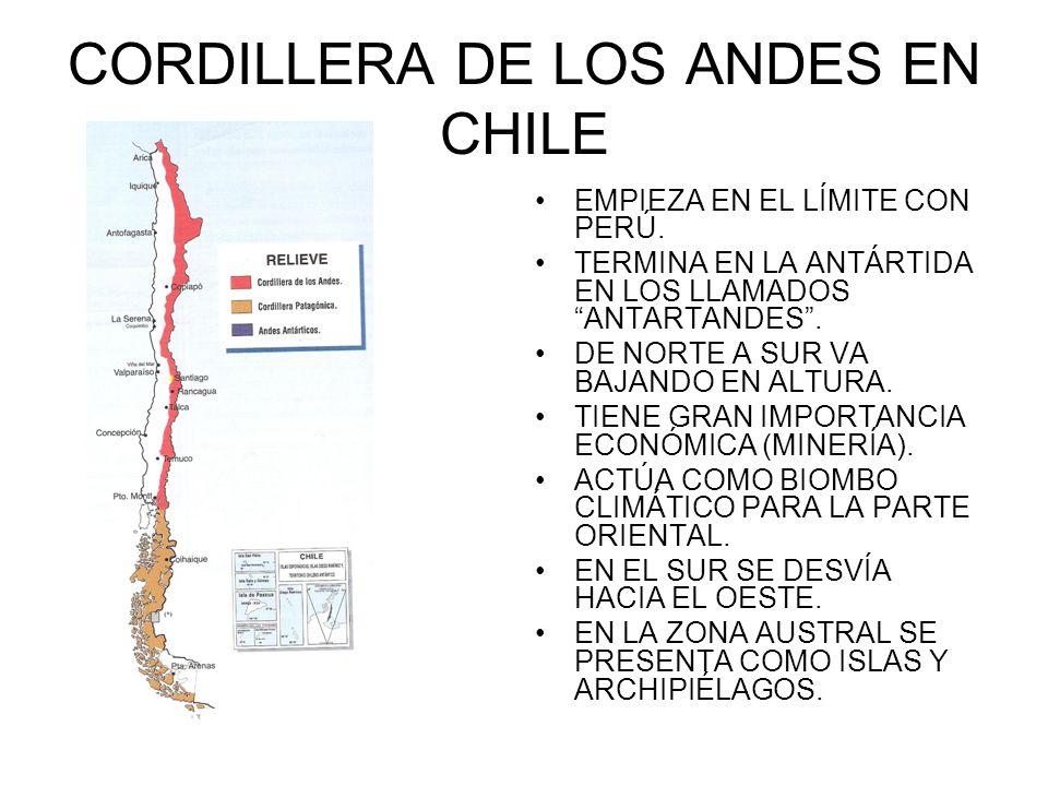 CORDILLERA DE LOS ANDES EN CHILE EMPIEZA EN EL LÍMITE CON PERÚ. TERMINA EN LA ANTÁRTIDA EN LOS LLAMADOS ANTARTANDES. DE NORTE A SUR VA BAJANDO EN ALTU